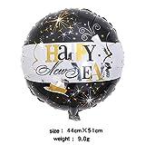DAPANGZI 1 Pcs Bonne Année Ballons en Aluminium Bouteille De Vin Étoile Hélium Ballon Près De L'Année Joyeux Fête De Noël Décoration Boules À Air, Noir Blanc Rond