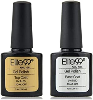 Elite99 Esmaltes Semipermanentes de Uñas en Gel UV LED de Color Neon 2pcs Kit de Esmaltes de Uñas 73ml (Base y top coat)