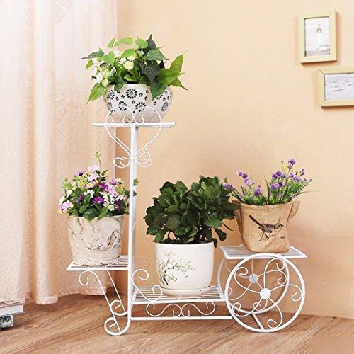 Européenne Fleur de Fer Rack Multi-étages Type de Plancher Balançoire Pot à Fleurs (Couleur: Blanc)