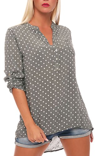 Malito Damen Bluse mit Punkten | Tunika mit ¾ Armen | Blusenshirt auch Langarm tragbar | Elegant - Shirt 3419 (Oliv)
