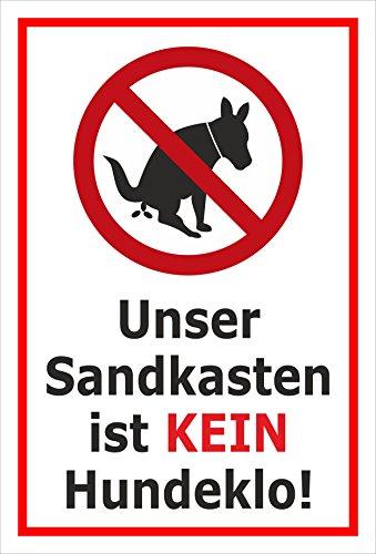 Melis Folienwerkstatt sticker schild - zandbak - Kein Hondenlo 60x40cm – Hartschaumplatte – mit Bohrlöchern