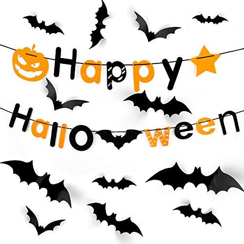 Halloween Fledermäuse Aufkleber 48 Pack 3D Dekoration Schwarz Wandaufkleber mit Alphabet Garland Bunting für DIY Party Fenster Halloween Dekorationen Indoor