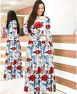 Elegant autumn Women's Dress 2020 Casual Bohemia Flower Print Maxi Dresses Fashion Hollow Out Tunic Dress Plus Size 5XL brand:TONWIN (Color : Y long, Size : 5XL)