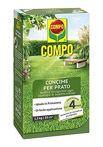 COMPO Concime per Prato, Concime Granulare, Per un manto erboso sano e rigoglioso, Nutrimento fino a 4 mesi, 1.5 kg