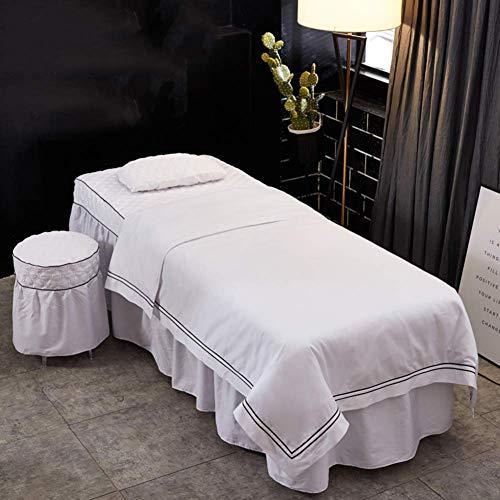 ASDF Lussuoso Set di Lenzuola per Lettino da Massaggio, Materasso per Massaggi Copriletto Caldo Salone di Bellezza 4 Pezzi Terapia di Massaggio Gonna da Tavolo-E 185X70cm