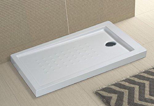 Piatto doccia in acrilico bianco ultraflat h.5cm completo di piletta scarico MILO (70x90 cm)