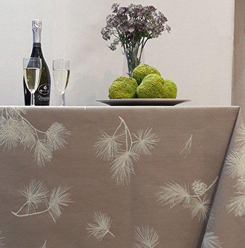 Fleur de Soleil - Nappe enduite ronde ou ovale Pin Beige Dimension - Ovale 160x200cm, Finition - Ourlée, Matière - Coton enduit
