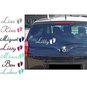Auto Aufkleber AA564 mit Namen Füße personalisiert~Heckscheibenaufkleber Kinder Baby Junge Mädchen