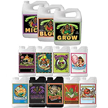 Advanced Nutrients Set Base  Grow Micro Bloom + Sensizym Flawless Finish Bud Candy Tarantula Piranha Voodoo Juice Overdrive Big Bud and Bud Ignitor…  4 Liter Base 1 Liter Additives