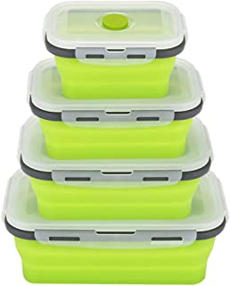 Collapsible Bento Box,Made of Food Grade Silicone Folding Reusable Food Storage Container,Easy Cleaning Insulted Bento Lunch Box(4 Pack)