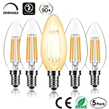 CAMORF E14 LED Candle Bulbs Dimmable,CRI 90+ Vintage Filament Led Light Bulbs,C35 No Flicker Small Edison...