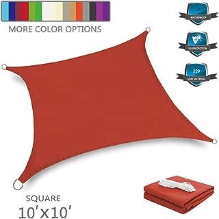 Tuosite Terylene Waterproof Sun Shade Sail UV Blocker Sunshade Patio Equilateral Square Knitted 220 GSM Block Fabric Pergola Carport Awning 10' x 10' in Color Iron Red
