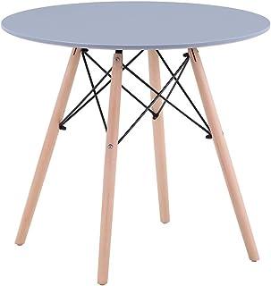GOLDFAN Table en Bois Table Ronde Salle Manger Scandinave Gris Table à Manger Table de Cuisine de Salle à Manger de Salon