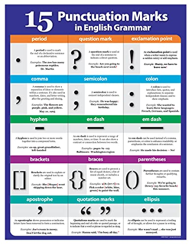 Punctuation Poster - Language Arts Writing Poster - Middle, High School ELA - English Teacher Classroom Decor - Grammar, Punctuation Chart - Laminated, 17x22 inches