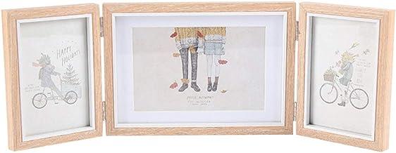 BESPORTBLE Moldura de madeira para fotos com três quadros dobrável com dobradiças triplas, álbum de fotos multifuncional, ...
