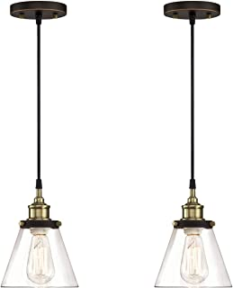 WISBEAM Pendant Lighting Fixture with Oil Rubbed Bronze and Brass Finish, Hanging Lights with One Medium Base Max. 60 Watts, ETL Rated, Bulbs not Included, 2-Pack