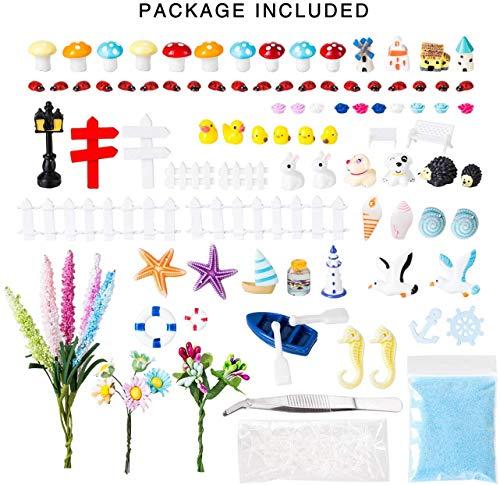 LIHAO Miniaturgarten Zubehör Feengarten Set Figur Gartendeko Miniatur Ornamente Bonsai DIY Zaun Sukkulente Pflanzen Moos ca. 150 Stück