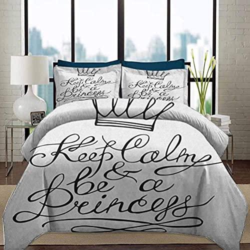 Ropa de cama Juego de funda nórdica Keep Calm Juegos de cama para niños pequeños Sé una princesa Cita romántica motivacional con letras de mano Save the Date Print Juego de cama decorativo de