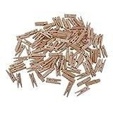 100 Pinzas clip decorativas de madera | Set de grapas color madera para...