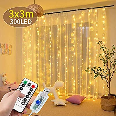 DANGZW LED Curtain Lights, 3m * 3m Window String Lights with 8 Modes Remote Control, Waterproof LED Fairy Lights for Christmas Wedding Party Garden Bedroom Decoration (Warm White)