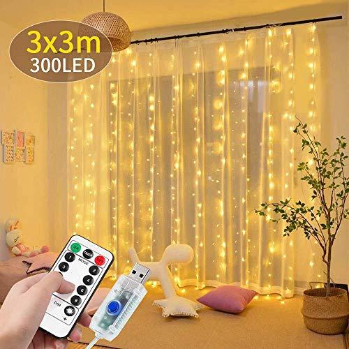 DANGZW LED Lichtervorhang, 300 LEDs USB Lichterkettenvorhang 3 m x 3 m Wasserdichte LED Lichterkette mit Fernbedienung, 8 Modi String Lights für Weihnachten, Hochzeit, Party, Schlafzimmer Dekoration