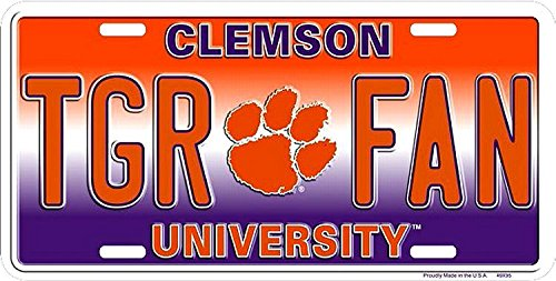 Signs 4 Fun Clemson Tigers License Plate