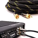 Elite Audio PRO 100% OFC Copper 2 Channel 3 ft RCA Audio Interconnect Stereo Cable with Triple-Shielded Armor, Quad Clamp Brass Copper Connectors & Copper Lead Drain Wire for Best Noise Cancellation