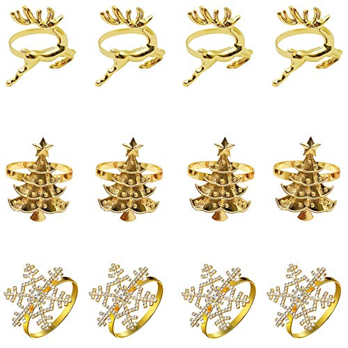 FUNNYHOUSX 12 Pieces Christmas Napkin Rings,Chic Elk Snowflake and Xmas Tree Napkin Rings for Christmas Dinners Parties,Wedding Adornment,Birthday Party Supplies,Home Table Decoration (Gold)