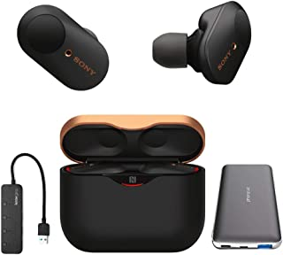 Sony WF-1000XM3 True Wireless Noise-Canceling Earbud Headphones (Black, USA Warranty) with Ultra-Portable 5,000 mAh Battery Pack and 4-Port USB 3.0 Hub (3 Items)