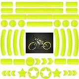 42 Piezas Pegatinas Reflectantes Bicicleta,Adhesivos Reflectantes,Pegatinas Reflectantes Kit,Reflectores Adhesivos,para Cascos, Bicicletas, Cochecitos,Moto,Sillas de Ruedas y Más (Amarillo)
