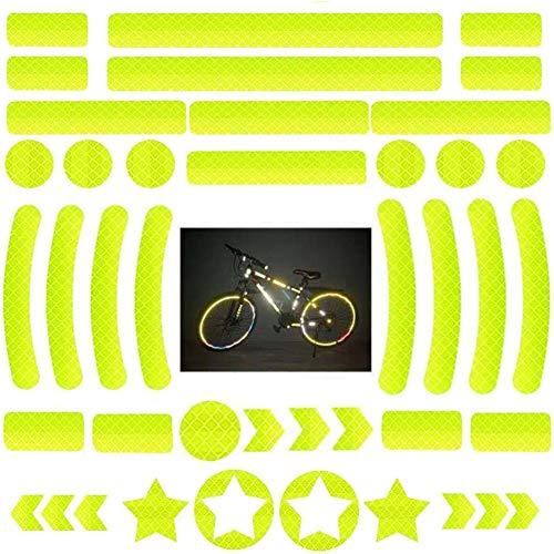 OUOQI Adesivi Riflettenti,Adesivi Catarifrangenti,Adesivi Riflettenti,Adesivo Nastro Catarifrangente,42 Pezzi Adesivi Riflettenti Bicicletta,Adesivi Luminosi,per caschi Bici, Auto, Moto (Giallo)