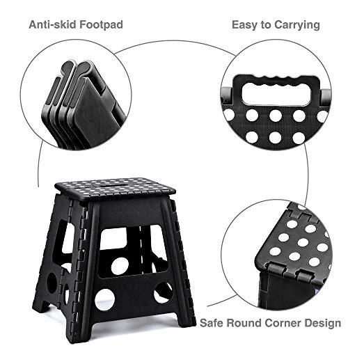 Acko 16 Inches Super Strong Folding Step Stool for Adults, Kitchen Stepping Stools, Garden Step Stool Black