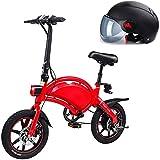 Bicicletas Eléctricas, Plegable bicicleta eléctrica de la ciudad, hasta 25 km / h, velocidad ajustable bicicletas, de 14 pulgadas ruedas, 36V / batería de litio 10.4Ah, unisex adulto, padre-hijo bi
