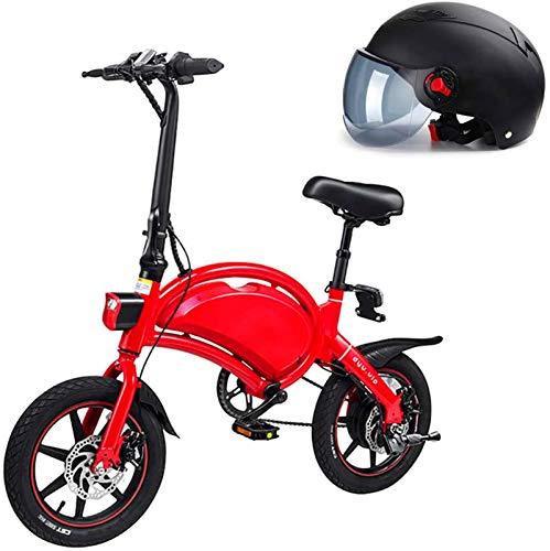 Bici electrica, Plegable bicicleta eléctrica de la ciudad, hasta 25 km / h, velocidad ajustable  bicicletas, de 14 pulgadas ruedas, 36V / batería de litio 10.4Ah, unisex adulto, padre-hijo bicicleta