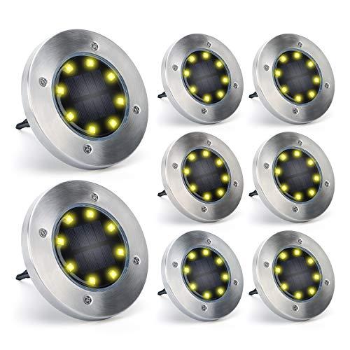Solarlampen für Außen Boden 8 Stück, TASMOR 8 LEDs Solarleuchten Garten Licht IP65 Wasserdicht, Warmweiß 4000K, Gartendeko Solar Bodenleuchten aus Edelstahl+ABS, für Rasen/Auffahrt/Gehweg/Patio/Garden
