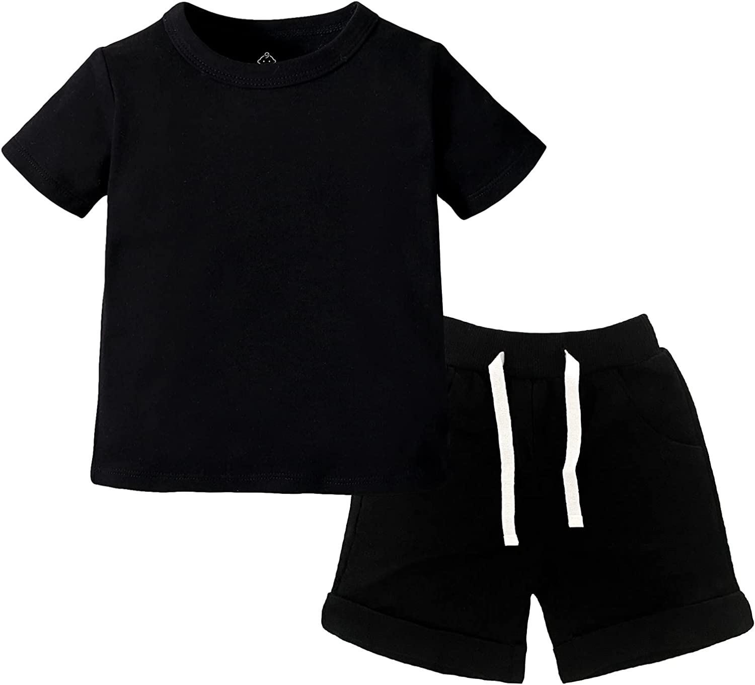 SOBOWO Baby Boys Girls Summer Sport T-Shirt and Shorts Set Solid Color Clothing Sets Tracksuit