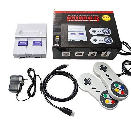 US Plug Super Mini HDMI Retro Classic Video Game Console TV Game Player Built-in 821 Games with Dual Gamepads for SNES SFC NES
