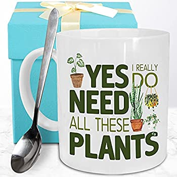 Dynular Plants Lover Gifts for Women Mom Funny Plant Addict Coffee Mug Gifts for Crazy Plant Lady Plant Men Best Plant Themed Gift for Christmas Birthday All I Need is Plants Coffee Cup with Spoon