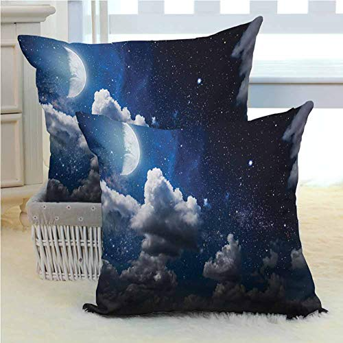 Clouds Decor Pillow Cushion Cases Celestial Solar Night Scene Stars Moon and Clouds Heaven Place in Cosmos Theme Hypoallergenic - Wrinkle Resistant 2PCS - W18 x L18 inch Dark Blue White