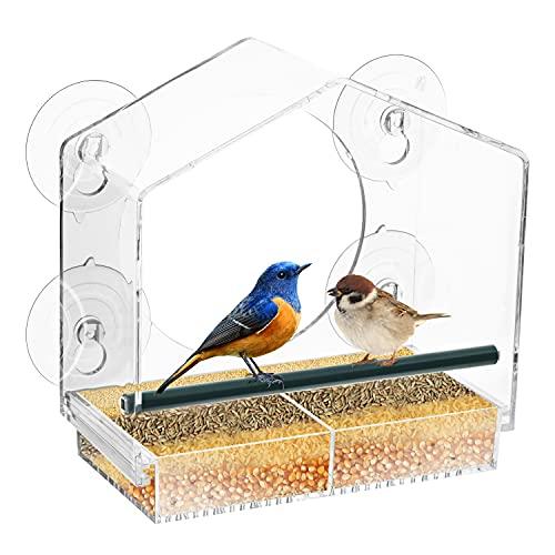 OSi\'S_Fenster Vögel Futter Stop mit Starken Saugnapf, Vogelfutterhaus an der Glasfenster, Vogelhäuschen, Futterhaus für Vögel, Futterstation Vögel, Vogelhaus Balkon, Vogelhaus, Wildbird Feeder