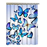 Alibuy Blue Butterfly Pattern Waterproof Bath Shower Curtains Fabrics Curtain with Free 12 Hooks,180x180cm