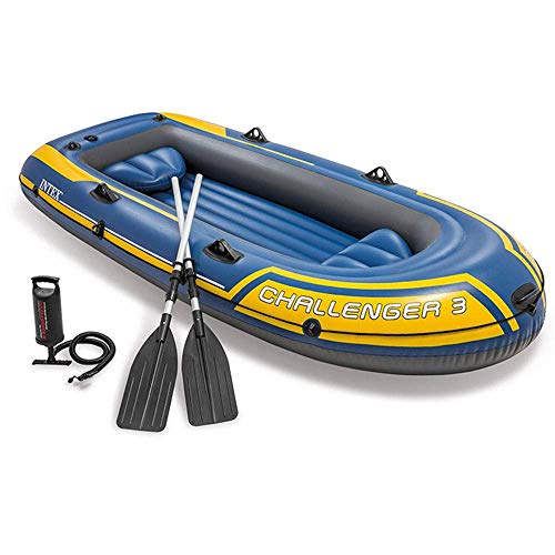 Zixin 3 People 295x137x43cm Canoe, Kayak, Dinghy Boat with Aluminum Oars and Manual air pump, Blue (Color : Blue)