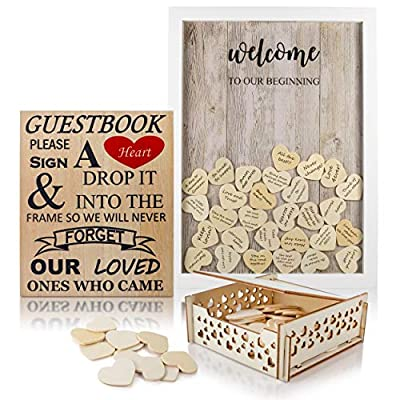"Wedding Guest Book Alternative with Hearts | Removable Back | Includes Sign""Please Sign A Heart"" 