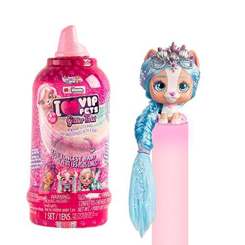 Vip Pets Glitter Twist Bambola a Sorpresa Cagnolini da Collezione, con Pettine e Capelli Luccicanti Extra Lunghi, Giochi per Bambina i Bambino dai 3 Anni