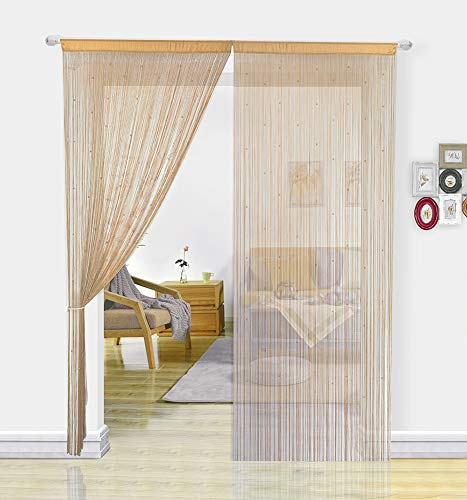 HSYLYM String Curtain with Pearl Beads Dense Fringe Beaded Door Tassel Curtains (100x200cm,Beige)