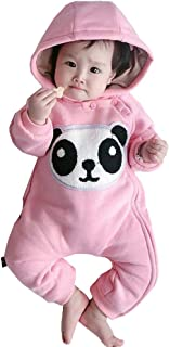 Newborn Infant Unisex Winter Warm Baby Romper Thicken Coveralls Cartoon 3D Rabbit Hoodie Easter Outfit