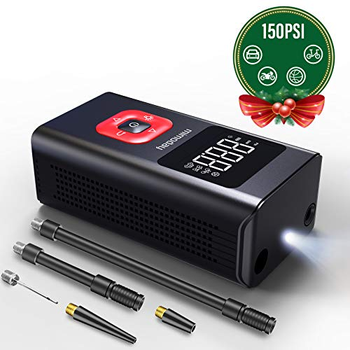 mimoday Tire Inflator Portable Air Compressor (150PSI), Mini Electric Air Pump 2500mAh with Digital Display LED Light, Rechargeable Lithium Battery for Car, Bicycle, Balls and Other Inflatables