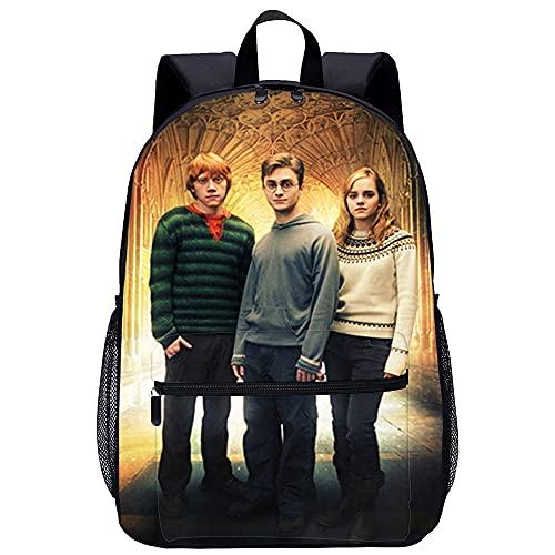 Harry Potter: Ron Weasley, Hermione Granger Mochila escolar Mochila escolar de dibujos animados impresa en 3D, adecuada para niños, estudiantes de primaria y secundaria