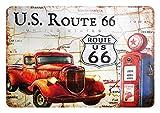 Cartel de chapa de 20 x 30 cm, arqueado de la Ruta 66, estación de gasolinera, decoración de regalo, vintage