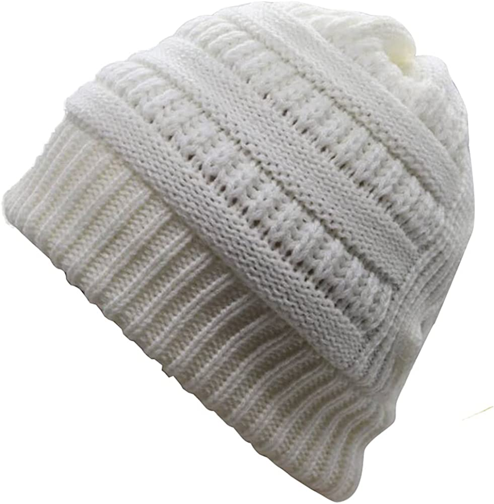 HHNLB Women's Beanie Ponytail Hat, Messy High Bun Cross Criss Hole, Winter Warm & Soft Stretch Cotton Knit Skull Cap